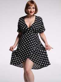 Plus Size Sexy Women Dot Deep V-neck High Waist Dress