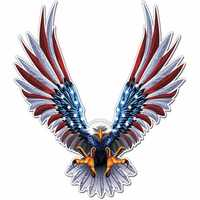 6x6.75 Inch Vinyl Car USA Eagle Wings United States Flag Bumper Window Stickers Decal