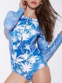 Front Zipper Printed Long Sleeve Surf Suit Spa Swimwear