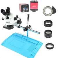 Industry 3.5X-90X Simul-focal Trinocular Stereo Microscope VGA HDMI Video Camera 720P 13MP For Phone PCB Soldering Repair Lab