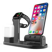 3 In 1 Aluminum Alloy Charging Dock Station Phone Holder For iPhone Apple AirPods Apple Watch Series