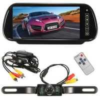 Wireless 7Inch LCD Mirror Monitor + IR Car Rear View Reversing Camera Backup Kit