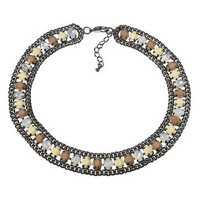 JASSY® Elegant White Opal Crystal Khaki Semi Precious Stone Retro Necklace Gift for Women
