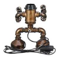 E27 Bulb Robot Lamp Light Industrial Pipe Desk Table Lamp Lighting Home Decoration