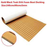 240cmx90cmx5mm Gold With Black Lines Marine Flooring Faux Teak EVA Foam Boat Decking Sheet