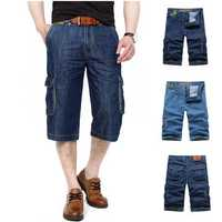 AFSJEEP Mens Summer Outdoor Multi-pocket Loose Straight Leg Cargo Shorts Casual Denim Shorts Big Size30-44