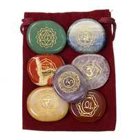 7 pcs Engraved Chakra Stone Energy Reiki Healing Natural Crystal