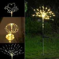 2PCS Solar Power DIY Light Control LED Firework Starburst Landscape Lamp for Home Garden Ground Lawn