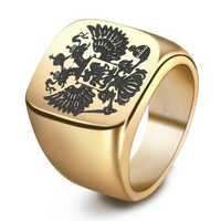 Punk Stainless Steel Double Eagle Head Finger Ring for Men
