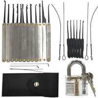 DANIU 12pcs Unlocking Lock Pick Set + 10pcs Key Extractor Set +1pc Transparent Practice Padlock