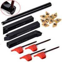 Machifit 10pcs DCMT070204 Carbide Inserts with 4pcs 12mm Lathe Boring Bar Turning Tool Holder