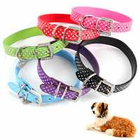 PU Leather Dog Collars Diamante Collar Pet Bling Puppy Small Medium Large Spotty