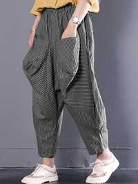 Stripe Retro High Elastic Waist Pockets Harem Pants