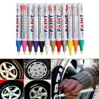 12pcs Color Tyre Permanent Paint Pen Tire Metal Outdoor Marking Ink Marker Trendy