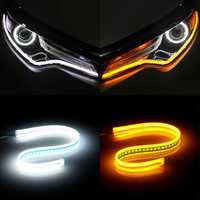 Ultra Thin Guide Strip White Daytime Running Lights Amber Turn Lamp Switchback Sequential 2Pcs