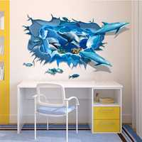 Dolphin 3D Sea Ocean Removable Mural Vinyl Wallpaper Sticker DIY Decal Children Room Home Decoration