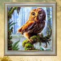 30x30cm 5D DIY Owl Diamond Painting Resin Full Rhinestone Home Decoration Animal Cross Stitch Kit