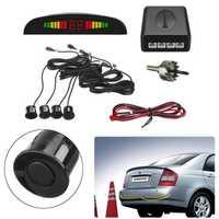 Car Reverse System 4 Parking Sensor Radar Kit LCD Displayer Buzzer Alarm Rear