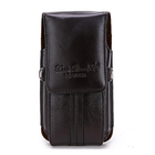 Meilleurs prix Men Leather Cell Phone Pouch Casual Ultra Thin Vertical Phone Case Phone Holder