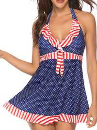 Split Halter Skirt Large Size Polka Dot Printing Swimwear