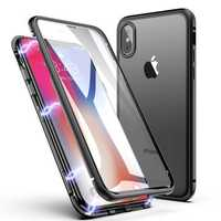 Bakeey 360º Full Body Magnetic Adsorption Aluminum+Front & Back Glass Protective Case For iPhone X/XS/XS Max/8/8 Plus/7/7 Plus
