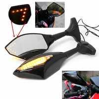 Pair Motorcycle LED Arrow Turn Signal Rear View Mirrors For Honda/Suzuki/Kawasaki/Yamaha
