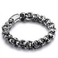 Casting Stainless Steel Skeleton Skull Chain Bracelet Men
