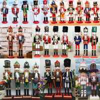 38cm Wooden Nutcracker Doll Soldier Vintage Handcraft Decoration Christmas Gifts