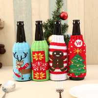 New Arrival Beer Cocktail Bottle Decor Cartoon Knitting Bottle Cover Bags Clothes Home Party Dinner Table Christmas Decoration