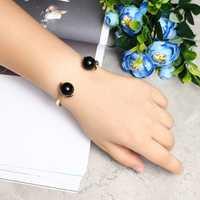 JASSY® Elegant Black Agate 18K Gold Plated Open-End Bracelet
