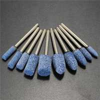 10pcs 1/8 Inch Shank Blue AbrasivE-mounted Stone Rotary Tool Grinding Wheel for Dremel