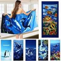 70x150cm Blue Dolphin Penguin Print Absorbent Microfiber Beach Towels Quick Dry Bath Towel