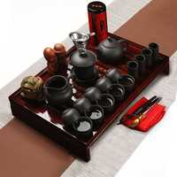 Chinese Kung Fu Tea Making Tools Tea Set Porcelain Teapot Pot Cup Elegant Kettle Wood Holder Tray