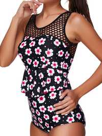 Mesh Patchwork Printed Woman Swimsuit