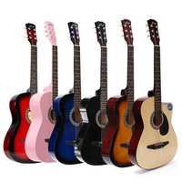 38 Inch Wooden Folk Acoustic Guitar 6 Color Guitar with Bag for Beginner