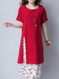 Vintage Women Short Sleeve Fake Two Pieces Floral Dresses