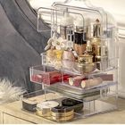 Meilleurs prix Acrylic Makeup Organizer Clear Cosmetic Jewelry Storage Box Double Open Cover Women Cosmetic Storage Drawer Desktop Make Up Case