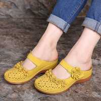 LOSTISY Flowers Pattern Hollow Out Soft Sole Sandals