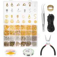 900Pcs Jewelry Making Kit Pliers Tweezer Repair Tool with Beading Wires & Jewelry Findings