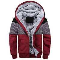 Mens Winter Thick Fleece Warm Hoodies Casual Spell Color Zipper Cotton Sweatshirt