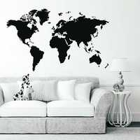 Large PVC World Map Removable Vinyl Wall Sticker Home Bedroom Office Art Decal