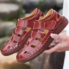 Meilleurs prix Men Genuine Leather Hand Stitching Hook&Loop Casual Sandals