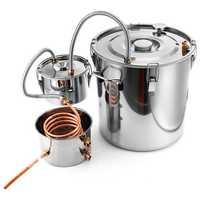 2/3/5/8 Gallons Moonshine Still Spirits Kit Water Alcohol Distiller Copper Tube Boiler Home Brewing Kit with Thumper Keg Stainless Steel