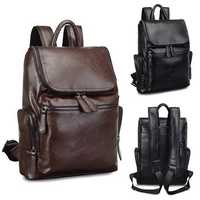 Waterproof 15.6 inch Laptop Backpack Men's Fashion PU Leather Backpacks For Hiking Travel Camping