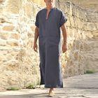 Prix de gros INCERUN Vintage Loose V Neck Splits Long Dress Tops Kaftan