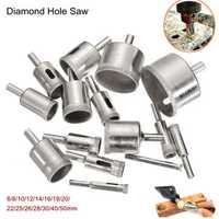 15Pcs 6-50mm Diamond Hole Saw Drill Bit Set 100 Grits Tile Ceramic Glass Marble Drill Bits