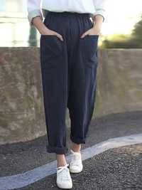 Women Pure Color Cotton Elastic Waist Harlan Pants