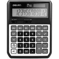 Deli 1582 Calculator 12 Digit Dual Power Battery and Solar Powered Metal Panel Automatic On/Off Business Finance Office School Desktop Voice Calculator