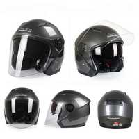 Motorcycle Scooter Half Open Face Helmet Dual Lens Anti-fog Ridng Protective