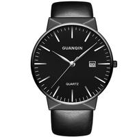 GUANQIN GS19058 Luxury Men Quartz Watch Fashion Leather Strap Wrist Watch